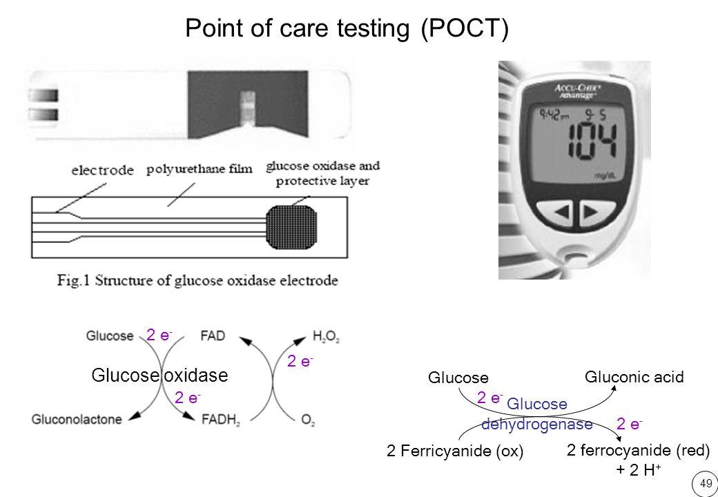 49 Glucose dehydrogenase Gluconic acid Glucose 2 Ferricyanide (ox) 2 ferrocyanide (red) + 2 H + 2 e - Glucose oxidase Point of care testing (POCT) 2 e -