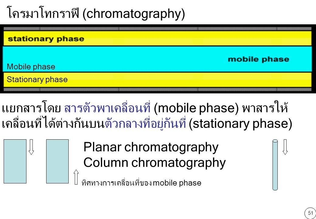 51 โครมาโทกราฟี (chromatography) Stationary phase Mobile phase แยกสารโดย สารตัวพาเคลื่อนที่ (mobile phase) พาสารให้ เคลื่อนที่ได้ต่างกันบนตัวกลางที่อยู่กันที่ (stationary phase) Planar chromatography Column chromatography ทิศทางการเคลื่อนที่ของ mobile phase