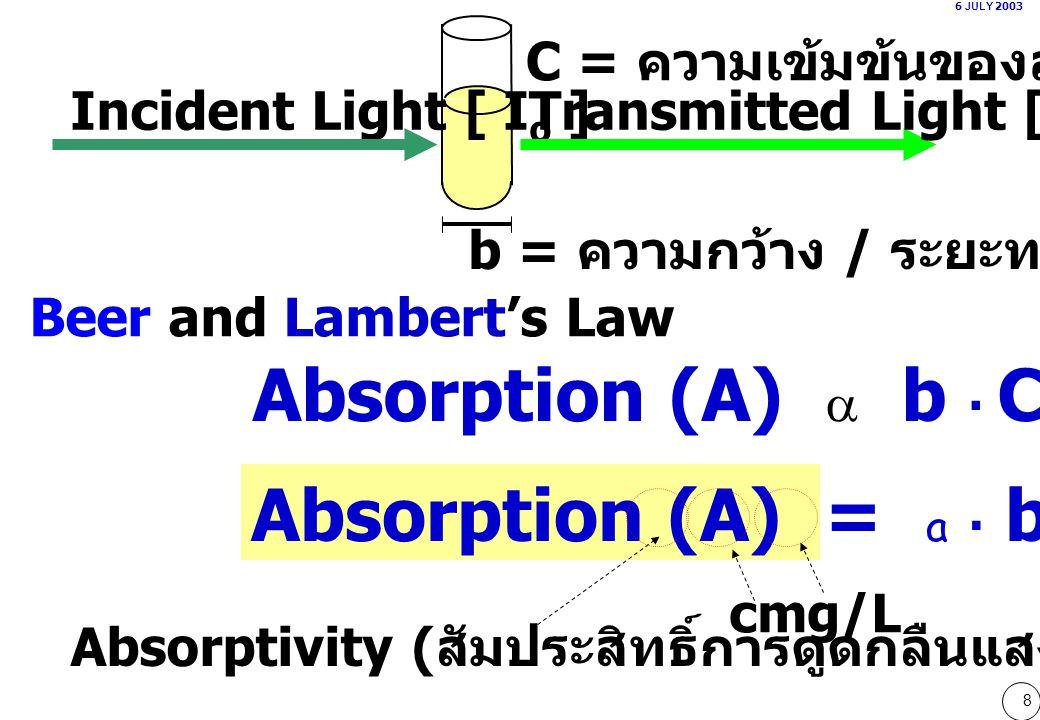 69 04)นำสารละลาย B ปริมาตร 2 ml ใส่ cuvette (กว้าง 1 cm) ไปวัดค่าดูดกลืนแสงที่ความยาวคลื่น 405 nm ได้ 0.300 สารละลาย B มีความเข้มข้นเท่ากับข้อใด [สัมประสิทธิ์ดูดกลืนคลื่นแสงของ B เท่ากับ 18.75x10 3 L  mole -1  cm -1 ] ก.0.008mmole/Lข.8mmole/L ค.0.016mmole/Lง.16mmole/L จ.คำนวณไม่ได้เพราะ มีข้อมูลไม่เพียงพอ 0.300 = 18.75x10 3 x 1.00 x C 0.016x10 -3 mole/L