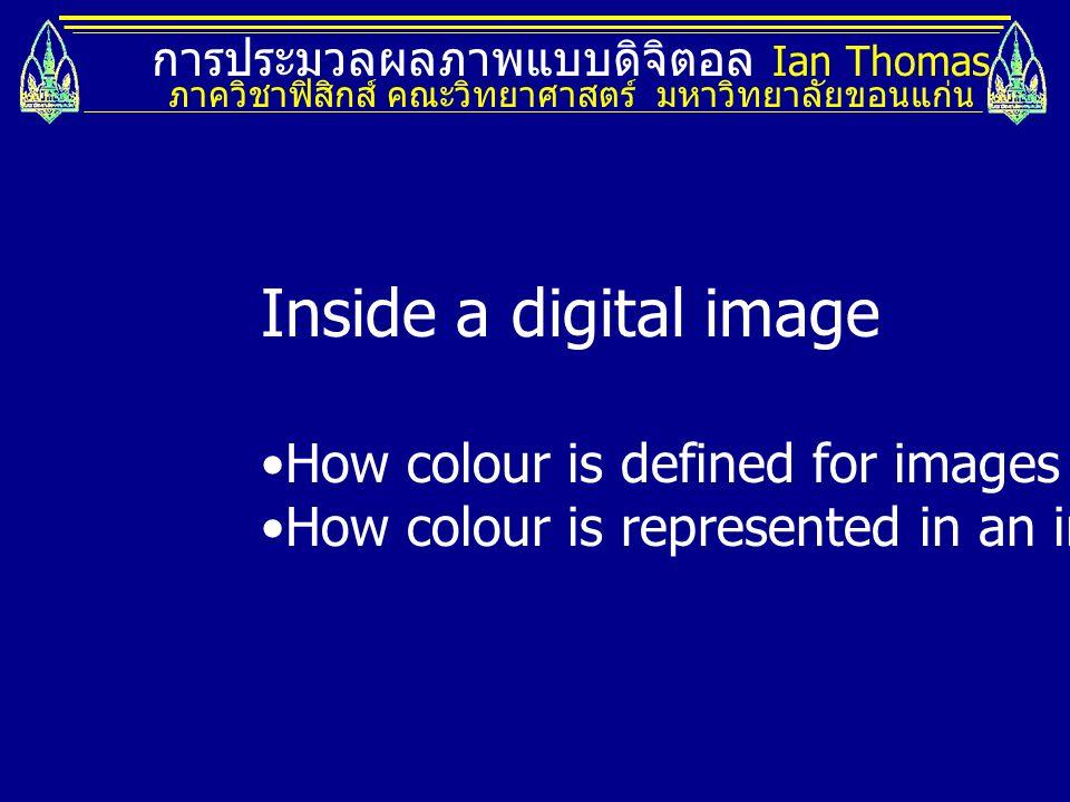 การประมวลผลภาพแบบดิจิตอล Ian Thomas ภาควิชาฟิสิกส์ คณะวิทยาศาสตร์ มหาวิทยาลัยขอนแก่น Inside a digital image How colour is defined for images How colour is represented in an image
