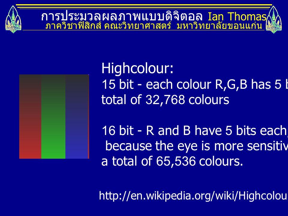 การประมวลผลภาพแบบดิจิตอล Ian Thomas ภาควิชาฟิสิกส์ คณะวิทยาศาสตร์ มหาวิทยาลัยขอนแก่น Highcolour: 15 bit - each colour R,G,B has 5 bits.