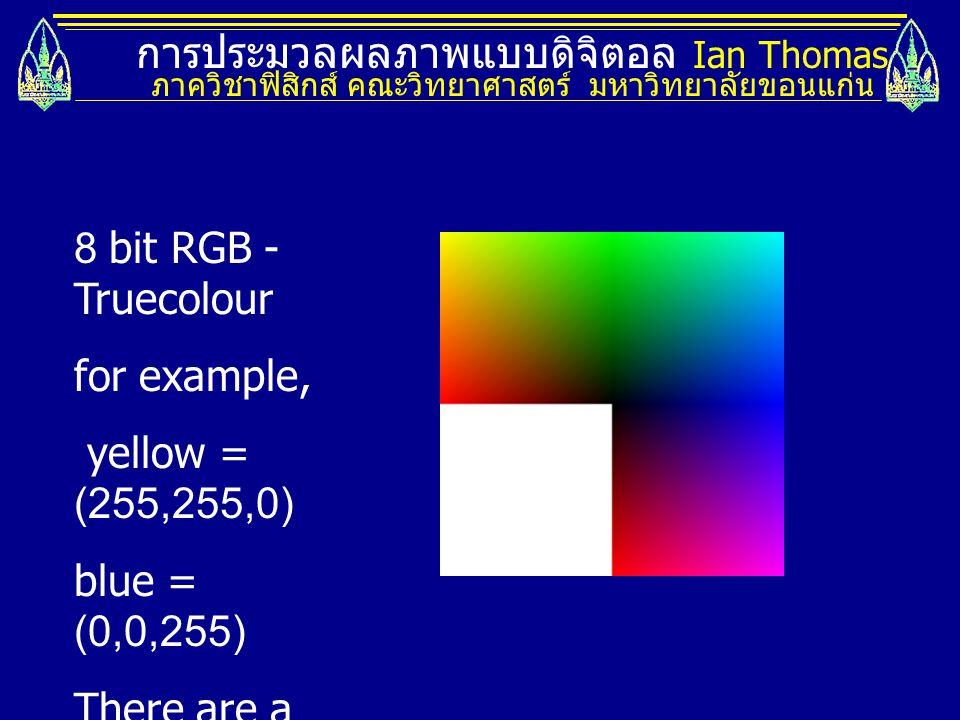 การประมวลผลภาพแบบดิจิตอล Ian Thomas ภาควิชาฟิสิกส์ คณะวิทยาศาสตร์ มหาวิทยาลัยขอนแก่น 8 bit RGB - Truecolour for example, yellow = (255,255,0) blue = (0,0,255) There are a total of 16 million colours.