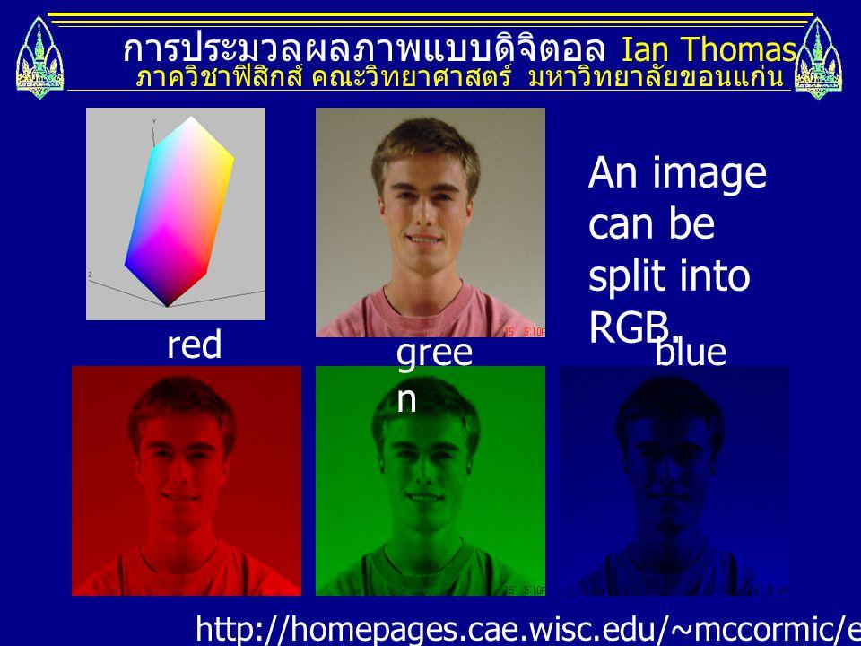 การประมวลผลภาพแบบดิจิตอล Ian Thomas ภาควิชาฟิสิกส์ คณะวิทยาศาสตร์ มหาวิทยาลัยขอนแก่น http://homepages.cae.wisc.edu/~mccormic/ece533/hw3.html red gree n blue An image can be split into RGB.