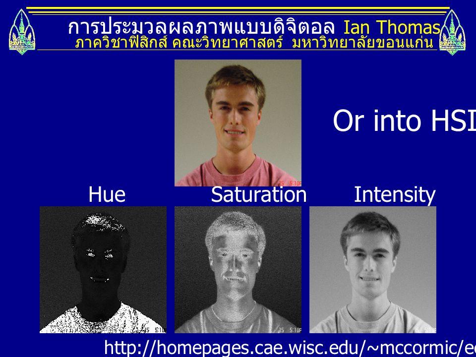 การประมวลผลภาพแบบดิจิตอล Ian Thomas ภาควิชาฟิสิกส์ คณะวิทยาศาสตร์ มหาวิทยาลัยขอนแก่น HueSaturationIntensity http://homepages.cae.wisc.edu/~mccormic/ece533/hw3.html Or into HSI.