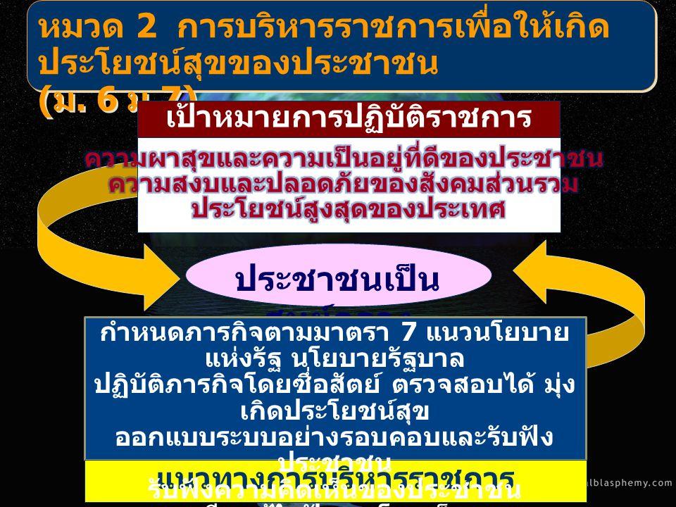 ประชาชนเป็น ศูนย์กลาง หมวด 2 การบริหารราชการเพื่อให้เกิด ประโยชน์สุขของประชาชน ( ม. 6 ม.7) เป้าหมายการปฏิบัติราชการ แนวทางการบริหารราชการ กำหนดภารกิจต