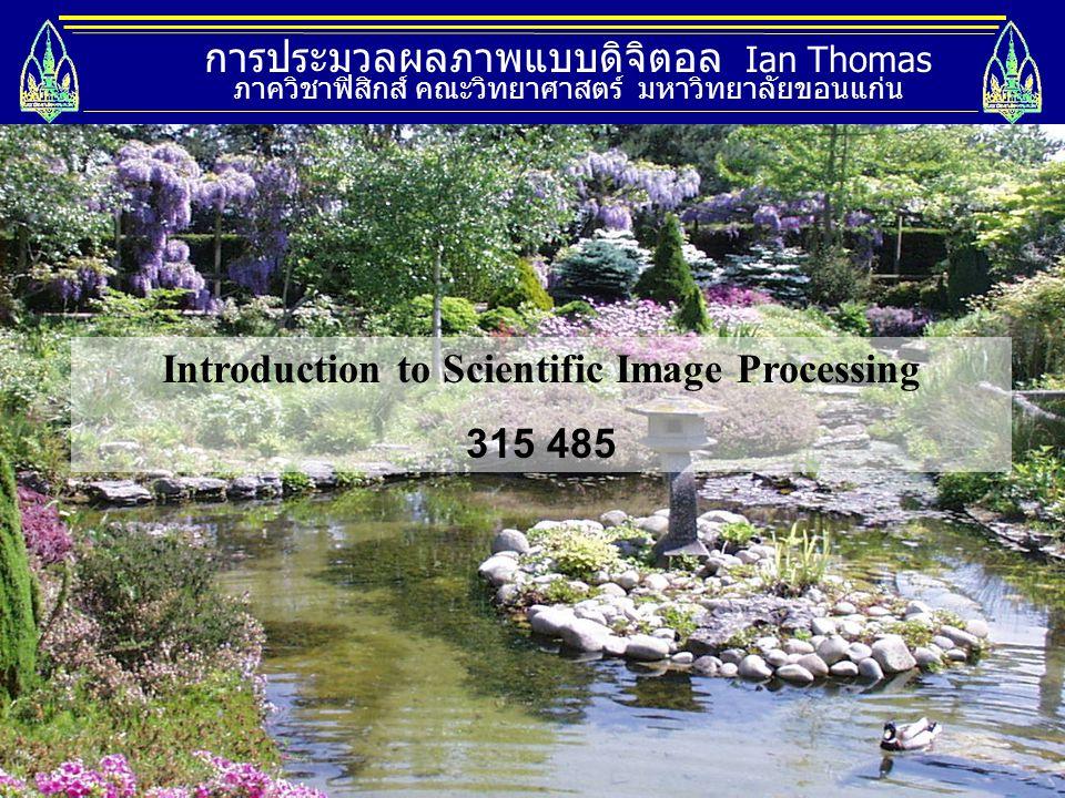การประมวลผลภาพแบบดิจิตอล Ian Thomas ภาควิชาฟิสิกส์ คณะวิทยาศาสตร์ มหาวิทยาลัยขอนแก่น Introduction to Scientific Image Processing 315 485