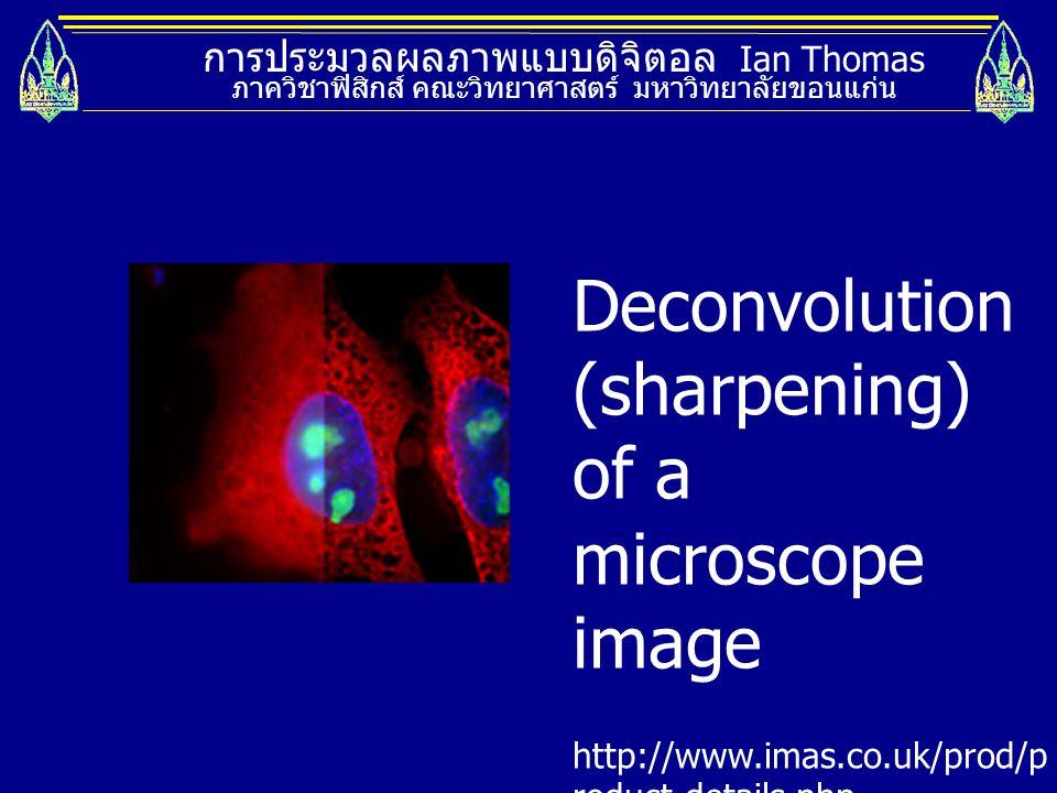 การประมวลผลภาพแบบดิจิตอล Ian Thomas ภาควิชาฟิสิกส์ คณะวิทยาศาสตร์ มหาวิทยาลัยขอนแก่น Deconvolution (sharpening) of a microscope image http://www.imas.