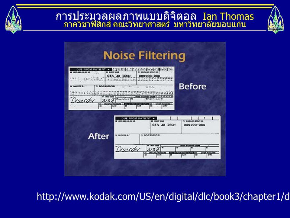 การประมวลผลภาพแบบดิจิตอล Ian Thomas ภาควิชาฟิสิกส์ คณะวิทยาศาสตร์ มหาวิทยาลัยขอนแก่น http://www.kodak.com/US/en/digital/dlc/book3/chapter1/digFundProc