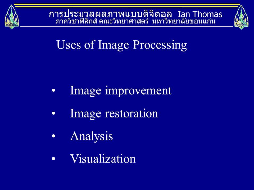 การประมวลผลภาพแบบดิจิตอล Ian Thomas ภาควิชาฟิสิกส์ คณะวิทยาศาสตร์ มหาวิทยาลัยขอนแก่น Uses of Image Processing Image improvement Image restoration Anal