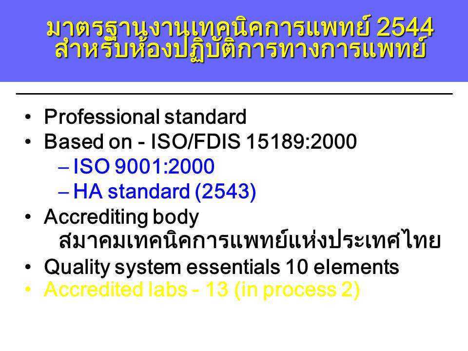Professional standard Based on - ISO/FDIS 15189:2000 –ISO 9001:2000 –HA standard (2543) Accrediting body สมาคมเทคนิคการแพทย์แห่งประเทศไทย Quality syst