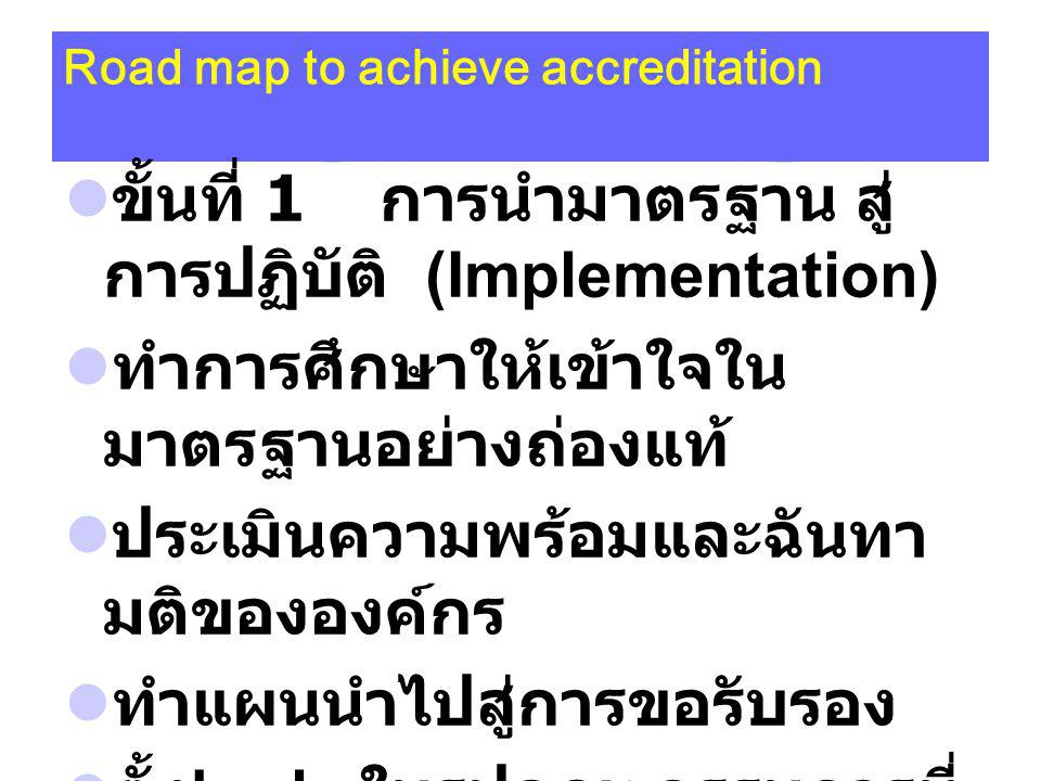Road map to achieve accreditation ขั้นที่ 1 การนำมาตรฐาน สู่ การปฏิบัติ (Implementation) ทำการศึกษาให้เข้าใจใน มาตรฐานอย่างถ่องแท้ ประเมินความพร้อมและฉันทา มติขององค์กร ทำแผนนำไปสู่การขอรับรอง ตั้ง body ในรูปคณะกรรมการที่ รับผิดชอบตามองค์ประกอบที่ กำหนดในมาตรฐาน