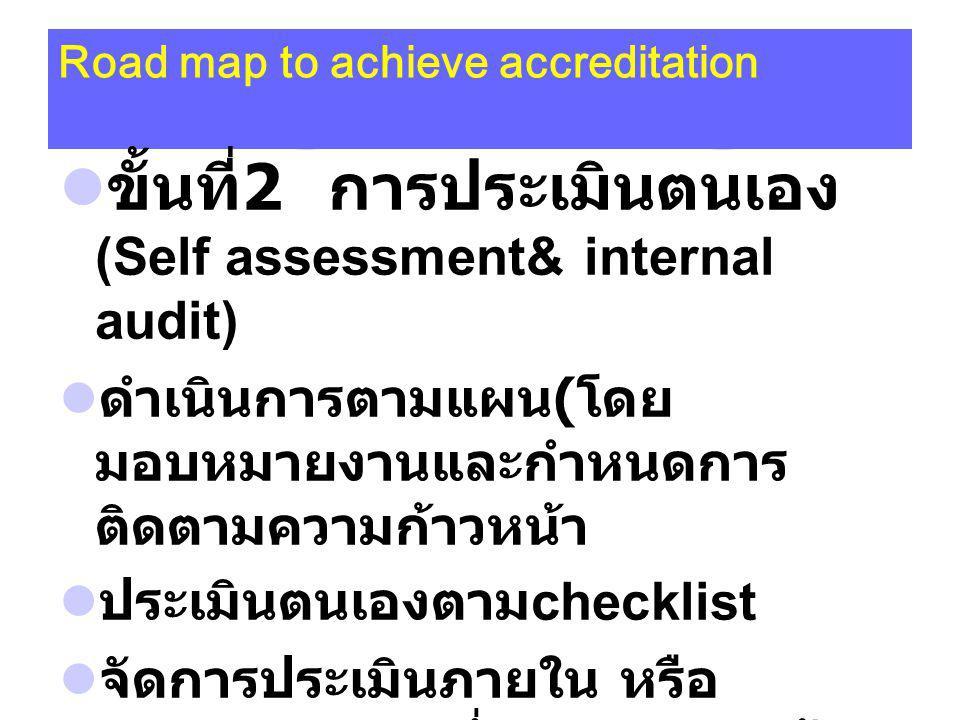 Road map to achieve accreditation ขั้นที่ 2 การประเมินตนเอง (Self assessment& internal audit) ดำเนินการตามแผน ( โดย มอบหมายงานและกำหนดการ ติดตามความก้าวหน้า ประเมินตนเองตาม checklist จัดการประเมินภายใน หรือ internal audit ซึ่งอาจจะเชิญผู้ ประเมินจากภายนอกมาเยี่ยมเพื่อดู ความพร้อม ( intensive visit)