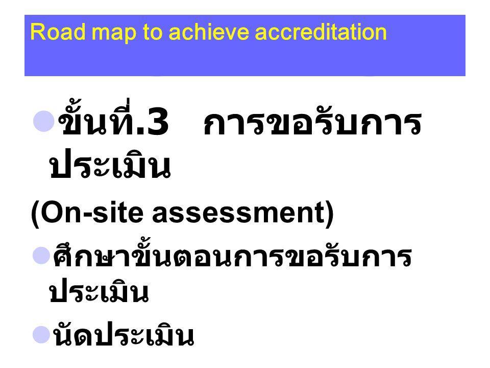 Road map to achieve accreditation ขั้นที่.3 การขอรับการ ประเมิน (On-site assessment) ศึกษาขั้นตอนการขอรับการ ประเมิน นัดประเมิน