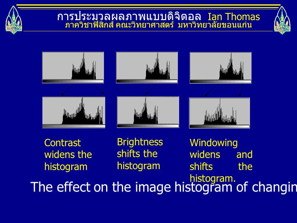 การประมวลผลภาพแบบดิจิตอล Ian Thomas ภาควิชาฟิสิกส์ คณะวิทยาศาสตร์ มหาวิทยาลัยขอนแก่น Contrast widens the histogram Brightness shifts the histogram Win