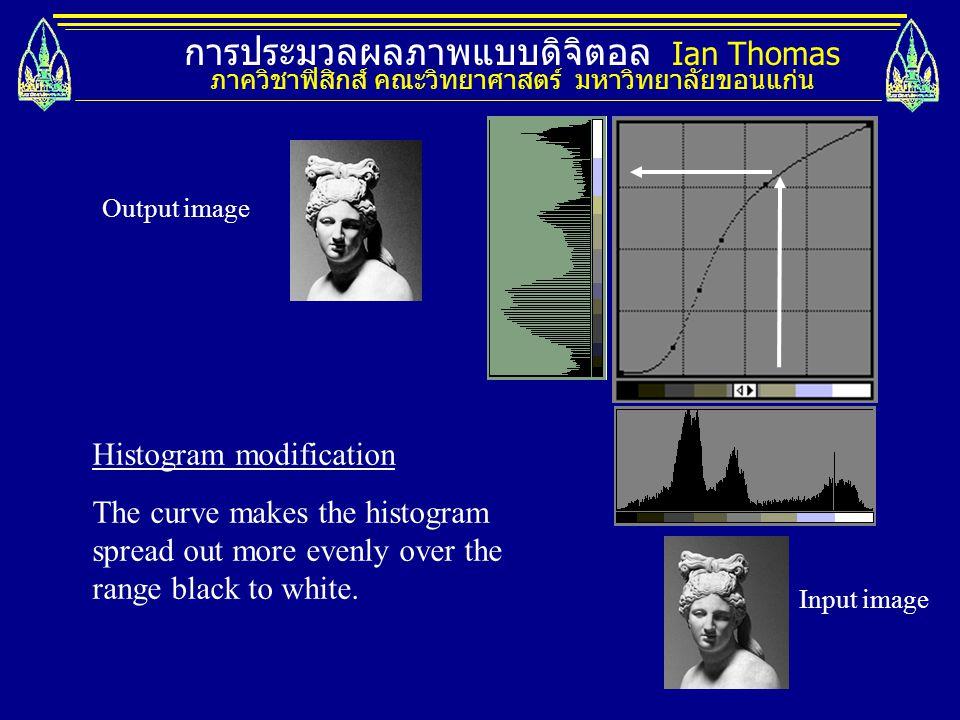 การประมวลผลภาพแบบดิจิตอล Ian Thomas ภาควิชาฟิสิกส์ คณะวิทยาศาสตร์ มหาวิทยาลัยขอนแก่น Histogram modification The curve makes the histogram spread out m