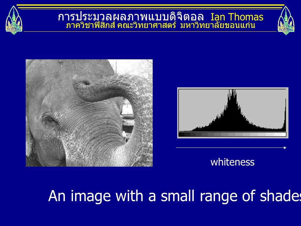 การประมวลผลภาพแบบดิจิตอล Ian Thomas ภาควิชาฟิสิกส์ คณะวิทยาศาสตร์ มหาวิทยาลัยขอนแก่น whiteness An image with a small range of shades and its histogram