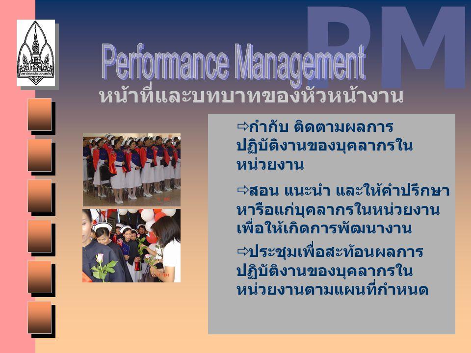 PM  กำกับ ติดตามผลการ ปฏิบัติงานของบุคลากรใน หน่วยงาน  สอน แนะนำ และให้คำปรึกษา หารือแก่บุคลากรในหน่วยงาน เพื่อให้เกิดการพัฒนางาน  ประชุมเพื่อสะท้อ