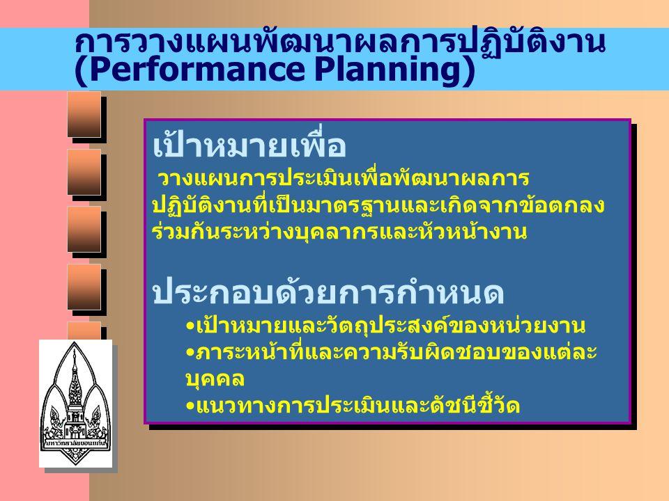 การวางแผนพัฒนาผลการปฏิบัติงาน (Performance Planning) เป้าหมายเพื่อ วางแผนการประเมินเพื่อพัฒนาผลการ ปฏิบัติงานที่เป็นมาตรฐานและเกิดจากข้อตกลง ร่วมกันระ