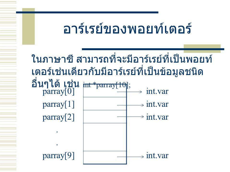อาร์เรย์ของพอยท์เตอร์ ในภาษาซี สามารถที่จะมีอาร์เรย์ที่เป็นพอยท์ เตอร์เช่นเดียวกับมีอาร์เรย์ที่เป็นข้อมูลชนิด อื่นๆได้ เช่น int *parray[10]; parray[0]