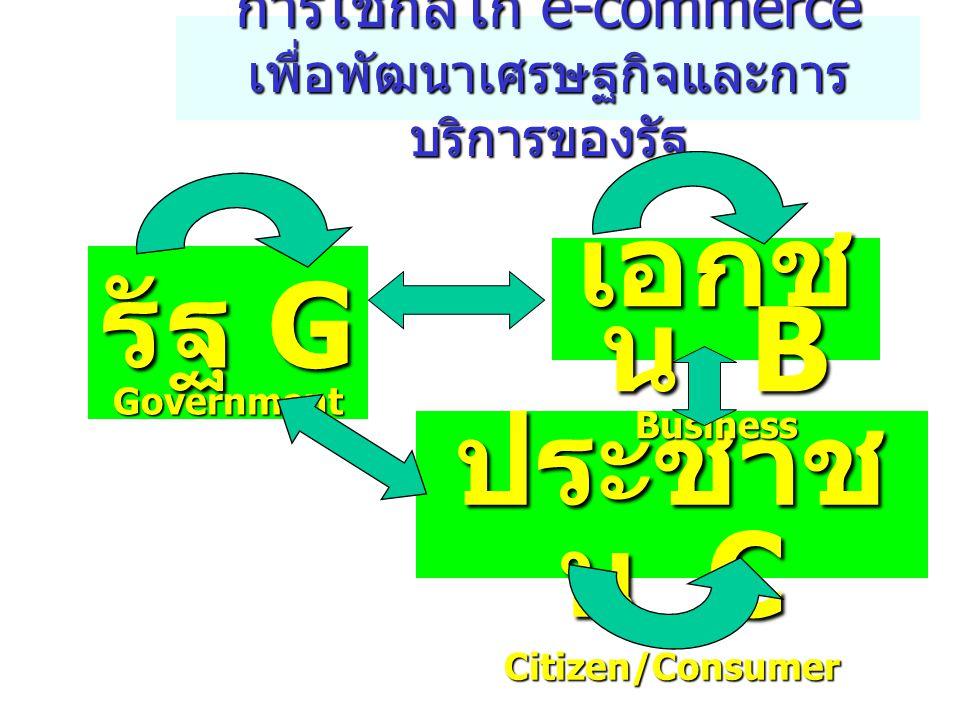 บริการทาง อิเล็กทรอนิกส์ 4 ทาง หลัก Online Information service: ธนาคารแห่งประเทศ ไทย สำนักงาน คณะกรรมการ ส่งเสริมการลงทุน ข บริการ ข้อมูล ข่าวสาร Simple Transaction Service: กรมทะเบียนการค้า ร บริการ เชิงรายการ Payment Gateway: กรมสรรพากร ง โอนเงิน ทางอิเล็กทรอนิกส์ e-Procurment: สำนักงานปลัด สำนัก นายกรัฐมนตรี ( กำลัง ดำเนินการ ) ซ จัดซื้อ ทางอิเล็กทรอนิกส์