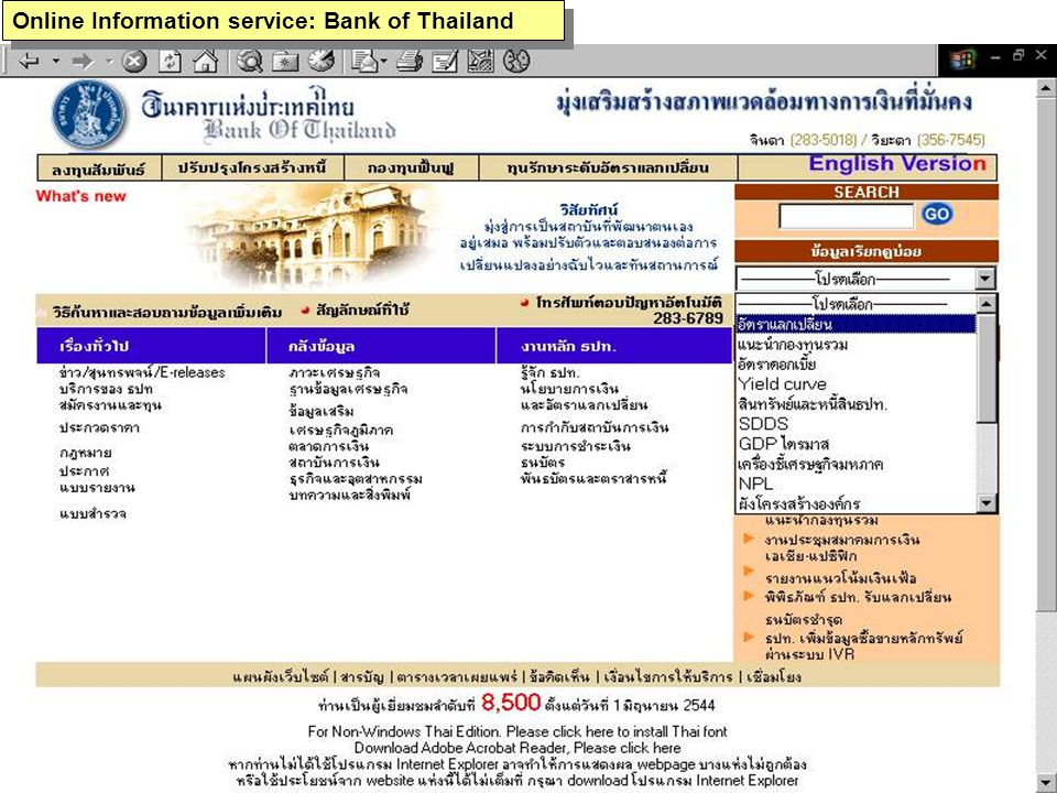 Online Information service: Bank of Thailand
