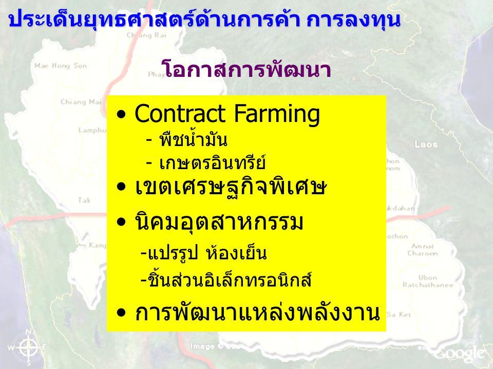 ประเด็นยุทธศาสตร์ด้านการค้า การลงทุน โอกาสการพัฒนา Contract Farming - พืชน้ำมัน - เกษตรอินทรีย์ เขตเศรษฐกิจพิเศษ นิคมอุตสาหกรรม -แปรรูป ห้องเย็น -ชิ้นส่วนอิเล็กทรอนิกส์ การพัฒนาแหล่งพลังงาน