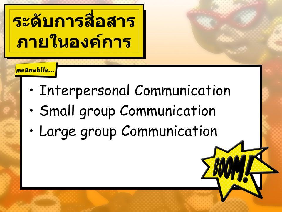 ระดับการสื่อสาร ภายในองค์การ Interpersonal Communication Small group Communication Large group Communication