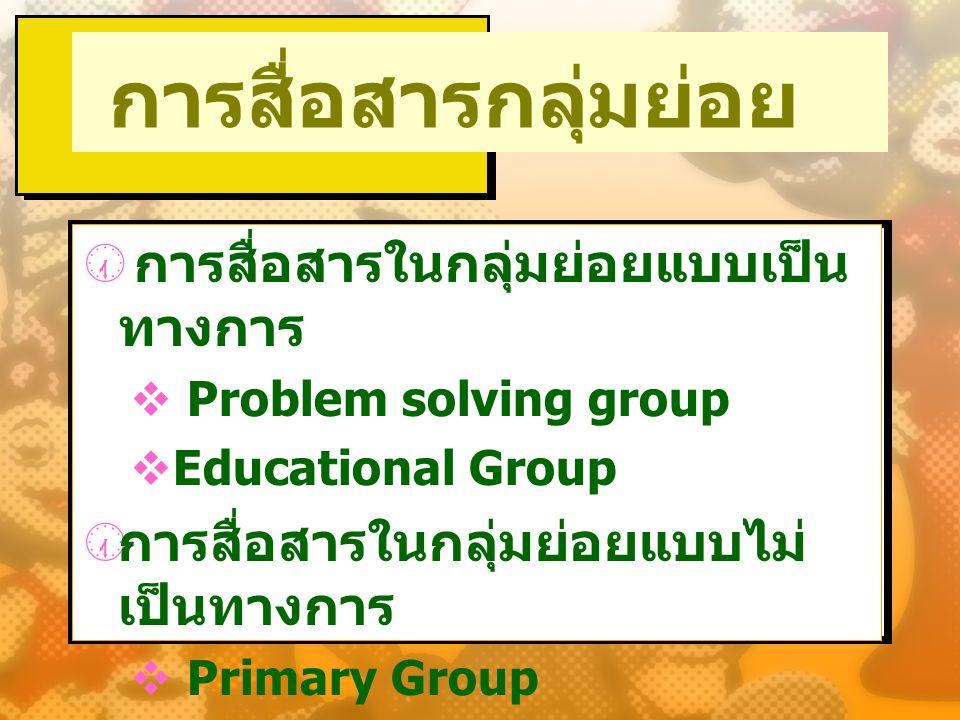  การสื่อสารในกลุ่มย่อยแบบเป็น ทางการ  Problem solving group  Educational Group  การสื่อสารในกลุ่มย่อยแบบไม่ เป็นทางการ  Primary Group  Casual Gr