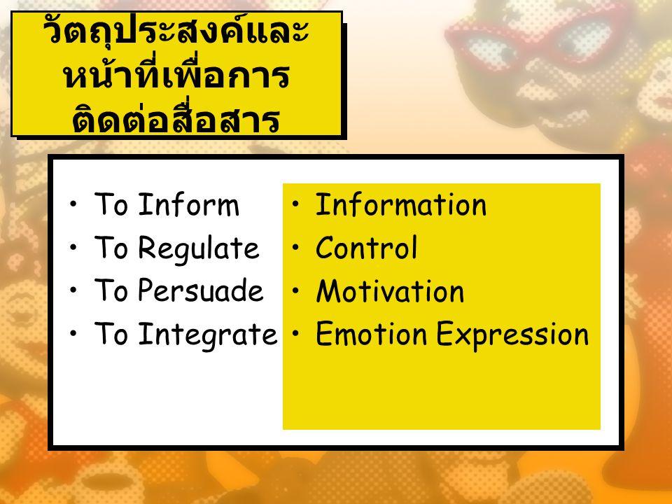 วัตถุประสงค์และ หน้าที่เพื่อการ ติดต่อสื่อสาร To Inform To Regulate To Persuade To Integrate Information Control Motivation Emotion Expression