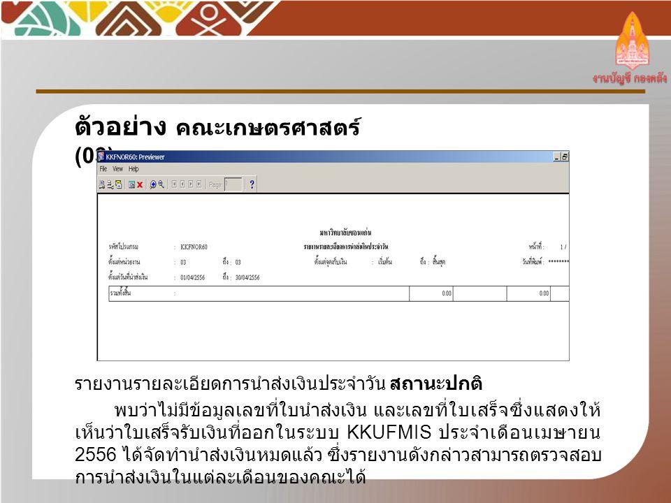 รายงานรายละเอียดการนำส่งเงินประจำวัน สถานะปกติ พบว่าไม่มีข้อมูลเลขที่ใบนำส่งเงิน และเลขที่ใบเสร็จซึ่งแสดงให้ เห็นว่าใบเสร็จรับเงินที่ออกในระบบ KKUFMIS