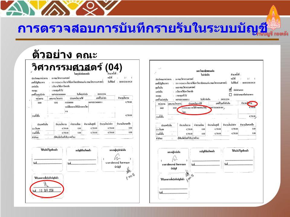 กำหนดเงื่อนไขที่ ต้องการ ประเภทรายงาน : สรุป ระบบ : ทั้งหมด สถานะใบสำคัญ : ปกติ รหัสหน่วยงาน : 04 ประเภทใบสำคัญ : RV วันที่บันทึกบัญชี : 10/05/2556 รหัสแหล่งเงิน : 2 ตัวอย่าง คณะ วิศวกรรมศาสตร์ (04) การเข้าหน้าจอ
