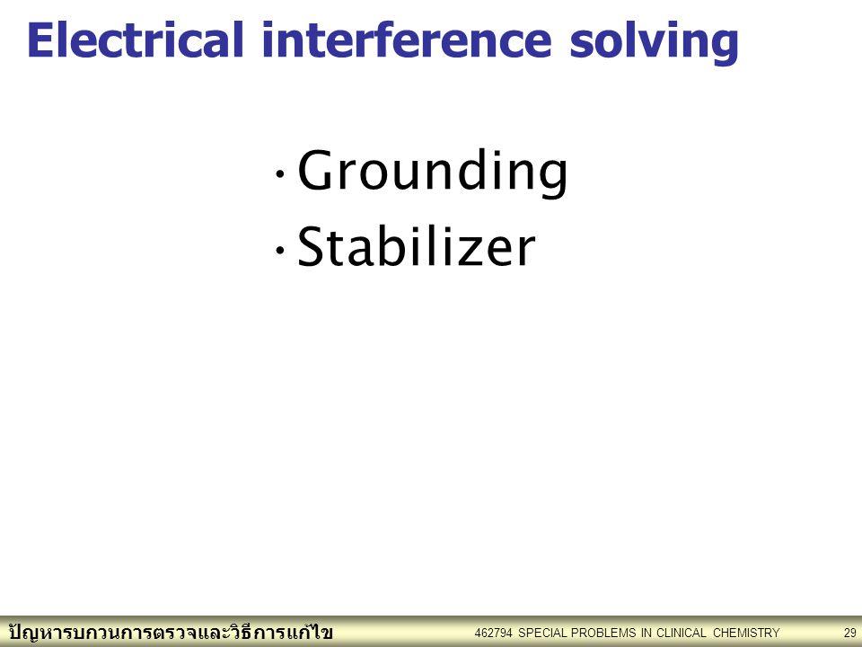 ปัญหารบกวนการตรวจและวิธีการแก้ไข 462794 SPECIAL PROBLEMS IN CLINICAL CHEMISTRY29 Electrical interference solving Grounding Stabilizer