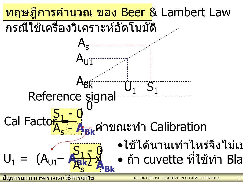 ปัญหารบกวนการตรวจและวิธีการแก้ไข 462794 SPECIAL PROBLEMS IN CLINICAL CHEMISTRY33 S 1 - 0 A s - A Bk Cal Factor = กรณีใช้เครื่องวิเคราะห์อัตโนมัติ A Bk S1S1 AsAs 0 Reference signal A U1 U1U1 U 1 = (A U1 – A Bk ) x S 1 - 0 A s - A Bk ค่าขณะทำ Calibration ใช้ได้นานเท่าไหร่จึงไม่เปลี่ยน .
