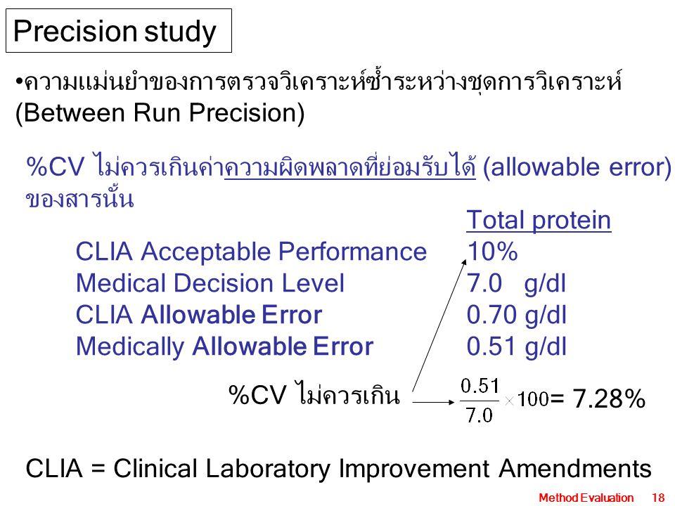 Method Evaluation18 ความแม่นยำของการตรวจวิเคราะห์ซ้ำระหว่างชุดการวิเคราะห์ (Between Run Precision) Precision study %CV ไม่ควรเกินค่าความผิดพลาดที่ย่อมรับได้ (allowable error) ของสารนั้น Total protein CLIA Acceptable Performance10% Medical Decision Level7.0 g/dl CLIA Allowable Error0.70 g/dl Medically Allowable Error0.51 g/dl CLIA = Clinical Laboratory Improvement Amendments = 7.28% %CV ไม่ควรเกิน