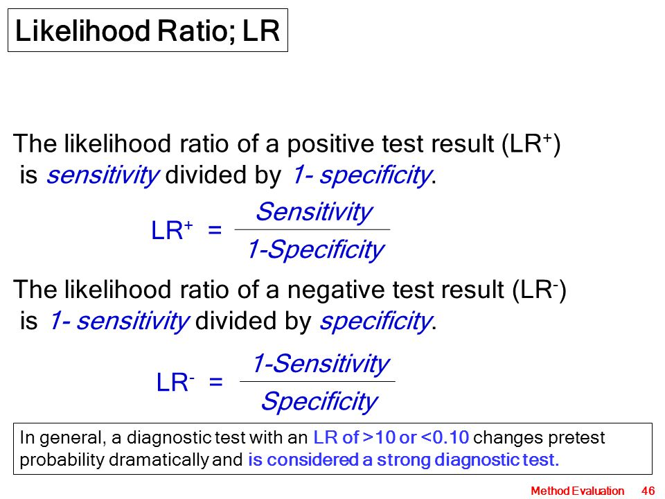 Method Evaluation46 Likelihood Ratio; LR The likelihood ratio of a positive test result (LR + ) is sensitivity divided by 1- specificity. The likeliho