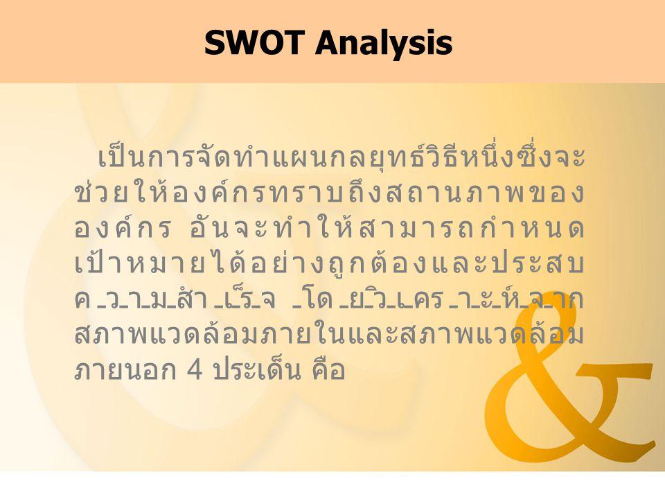 SWOT Analysis เป็นการจัดทำแผนกลยุทธ์วิธีหนึ่งซึ่งจะ ช่วยให้องค์กรทราบถึงสถานภาพของ องค์กร อันจะทำให้สามารถกำหนด เป้าหมายได้อย่างถูกต้องและประสบ ความสำเร็จ โดยวิเคราะห์จาก สภาพแวดล้อมภายในและสภาพแวดล้อม ภายนอก 4 ประเด็น คือ