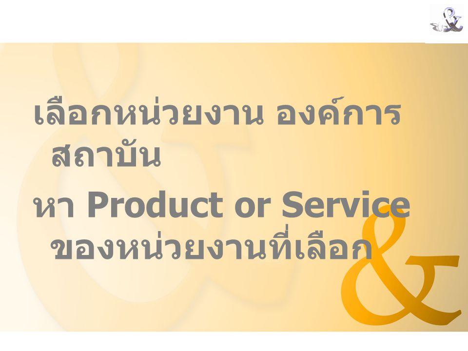 เลือกหน่วยงาน องค์การ สถาบัน หา Product or Service ของหน่วยงานที่เลือก