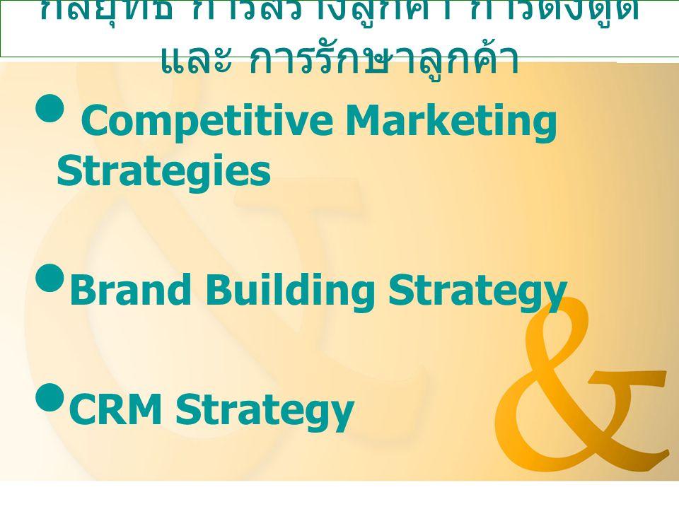 กลยุทธ์ การสร้างลูกค้า การดึงดูด และ การรักษาลูกค้า Competitive Marketing Strategies Brand Building Strategy CRM Strategy