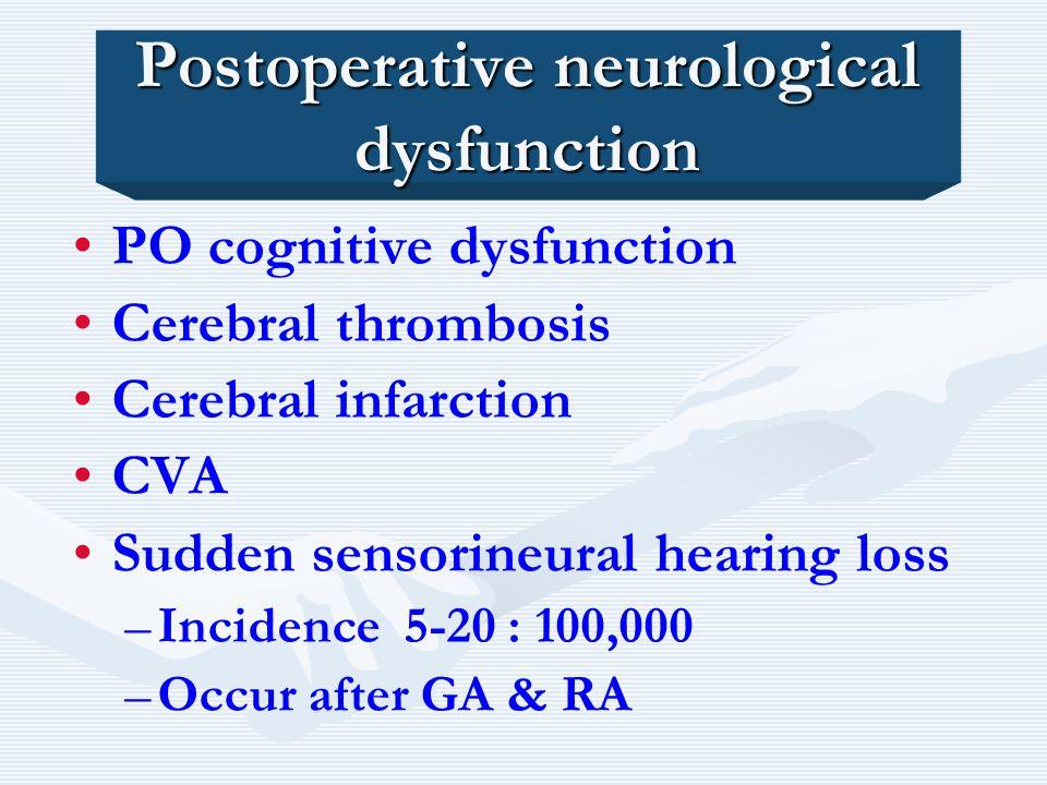 Postoperative neurological dysfunction PO cognitive dysfunction Cerebral thrombosis Cerebral infarction CVA Sudden sensorineural hearing loss – –Incid