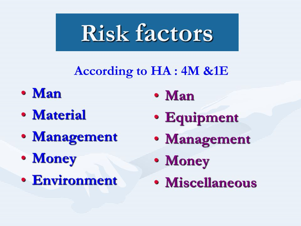 Risk factors ManMan MaterialMaterial ManagementManagement MoneyMoney EnvironmentEnvironment Man Equipment Management Money Miscellaneous According to