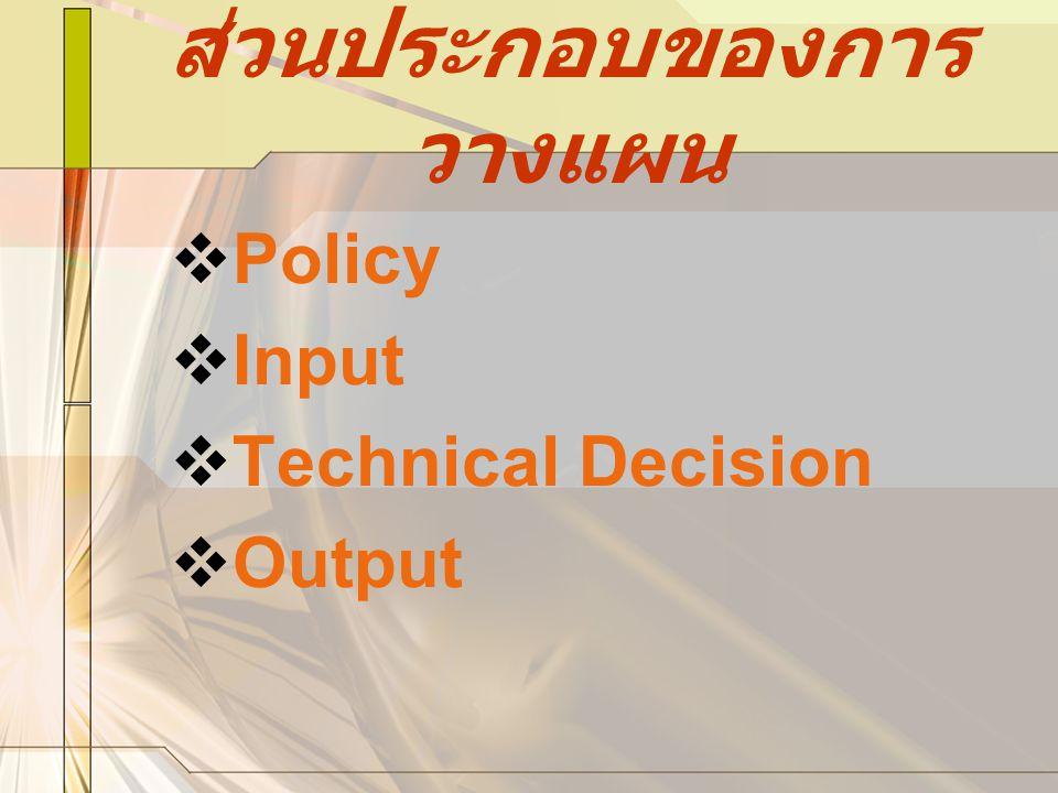 ส่วนประกอบของการ วางแผน PPolicy IInput TTechnical Decision OOutput