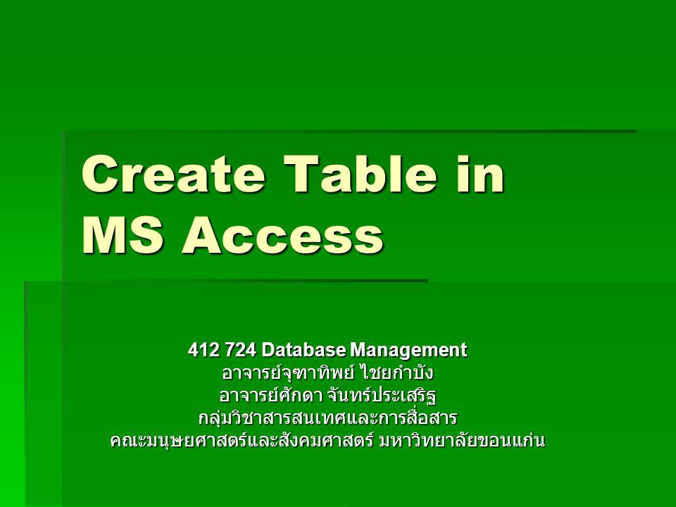 Create Table in MS Access 412 724 Database Management อาจารย์จุฑาทิพย์ ไชยกำบัง อาจารย์ศักดา จันทร์ประเสริฐ กลุ่มวิชาสารสนเทศและการสื่อสาร คณะมนุษยศาส