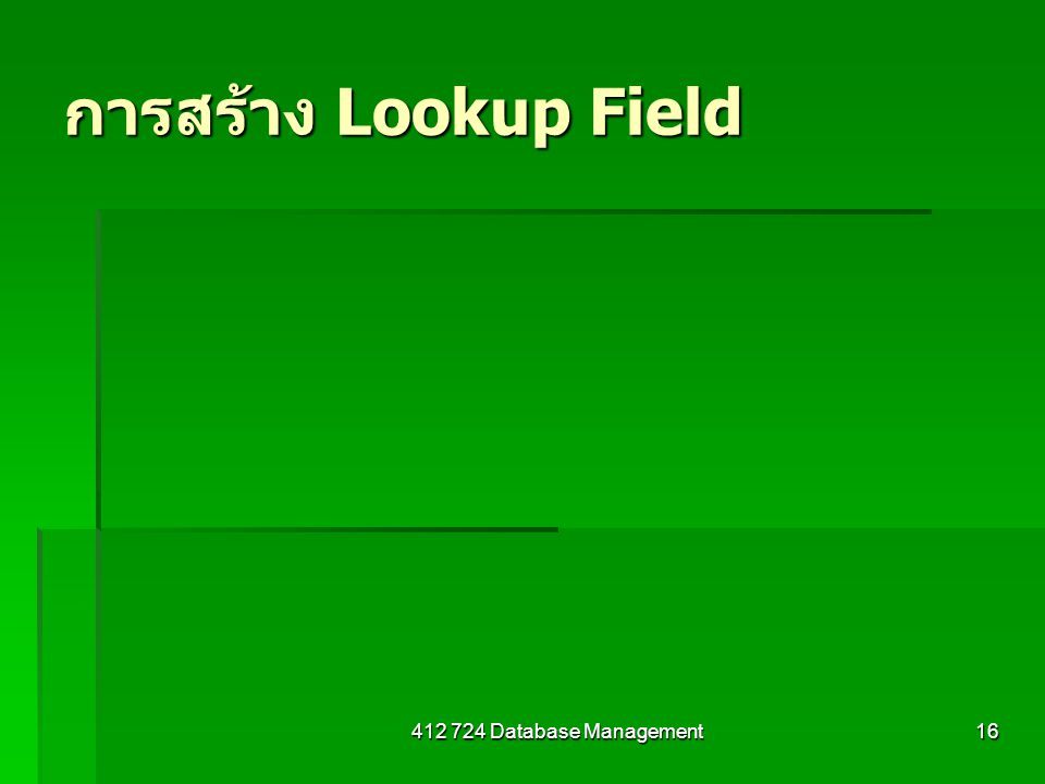 412 724 Database Management16 การสร้าง Lookup Field