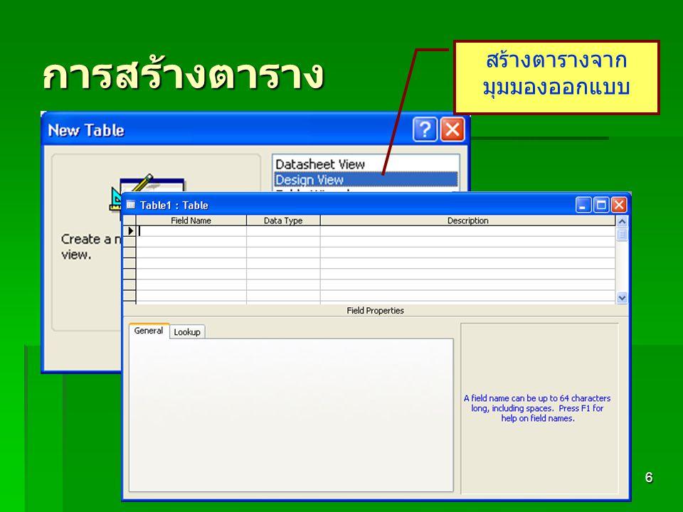 412 724 Database Management6 การสร้างตาราง สร้างตารางจาก มุมมองออกแบบ