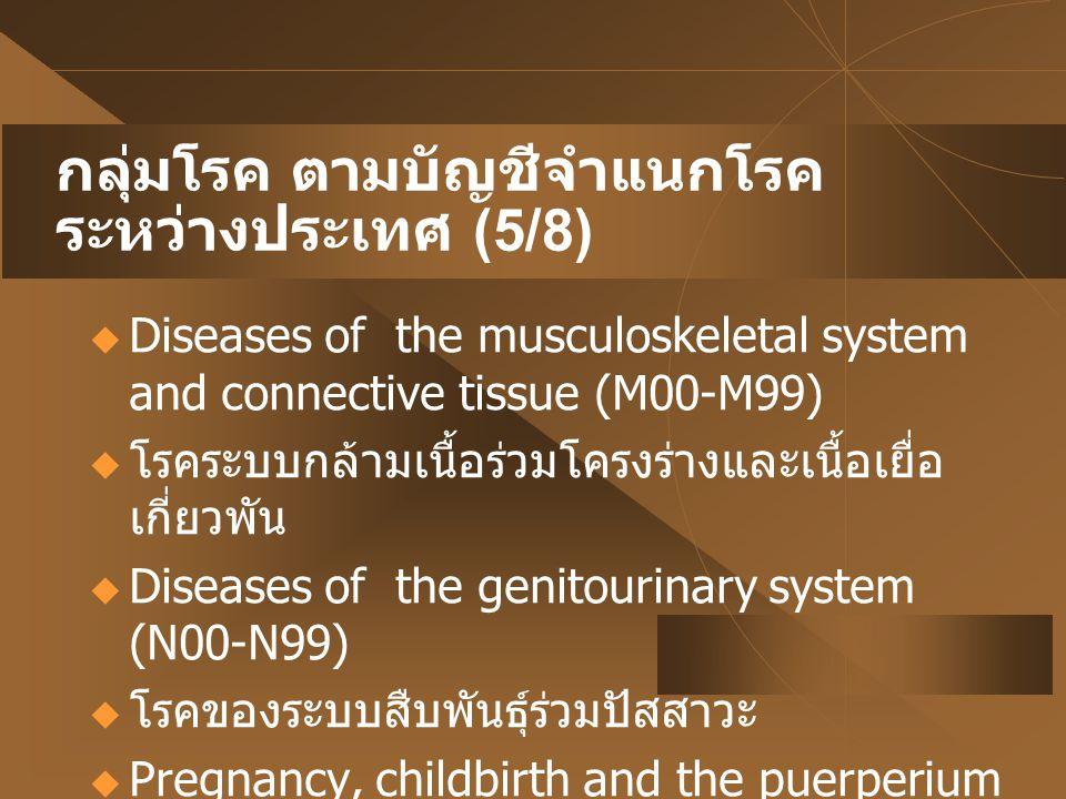 กลุ่มโรค ตามบัญชีจำแนกโรค ระหว่างประเทศ (5/8)  Diseases of the musculoskeletal system and connective tissue (M00-M99)  โรคระบบกล้ามเนื้อร่วมโครงร่าง