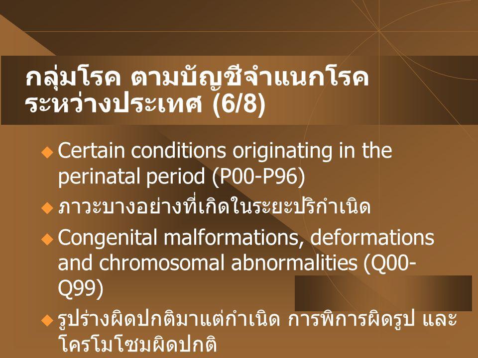 กลุ่มโรค ตามบัญชีจำแนกโรค ระหว่างประเทศ (6/8)  Certain conditions originating in the perinatal period (P00-P96)  ภาวะบางอย่างที่เกิดในระยะปริกำเนิด