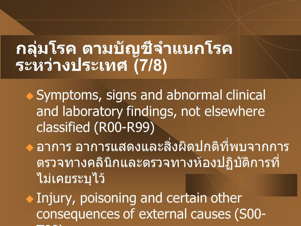 กลุ่มโรค ตามบัญชีจำแนกโรค ระหว่างประเทศ (7/8)  Symptoms, signs and abnormal clinical and laboratory findings, not elsewhere classified (R00-R99)  อา