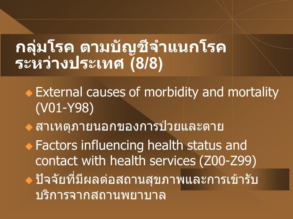 กลุ่มโรค ตามบัญชีจำแนกโรค ระหว่างประเทศ (8/8)  External causes of morbidity and mortality (V01-Y98)  สาเหตุภายนอกของการป่วยและตาย  Factors influenc