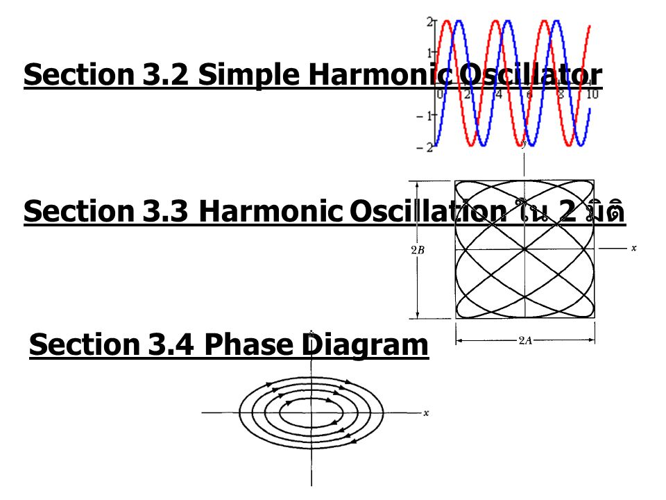 Section 3.4 Phase Diagram Section 3.2 Simple Harmonic Oscillator Section 3.3 Harmonic Oscillation ใน 2 มิติ