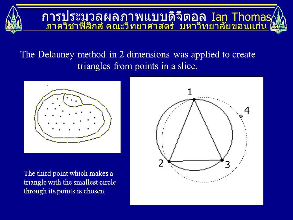 การประมวลผลภาพแบบดิจิตอล Ian Thomas ภาควิชาฟิสิกส์ คณะวิทยาศาสตร์ มหาวิทยาลัยขอนแก่น 1 2 3 4 The Delauney method in 2 dimensions was applied to create